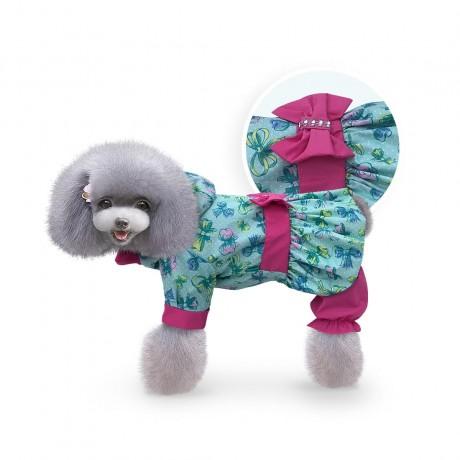 """Дождевик """"Бантики"""" зеленый купить для собак"""