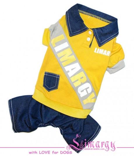 """Комбинезон для собак Limargy """"B-Jeans"""" желтый"""