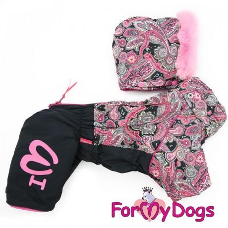 """Комбинезон """"Пэйсли"""" розовый-черный для собак купить"""