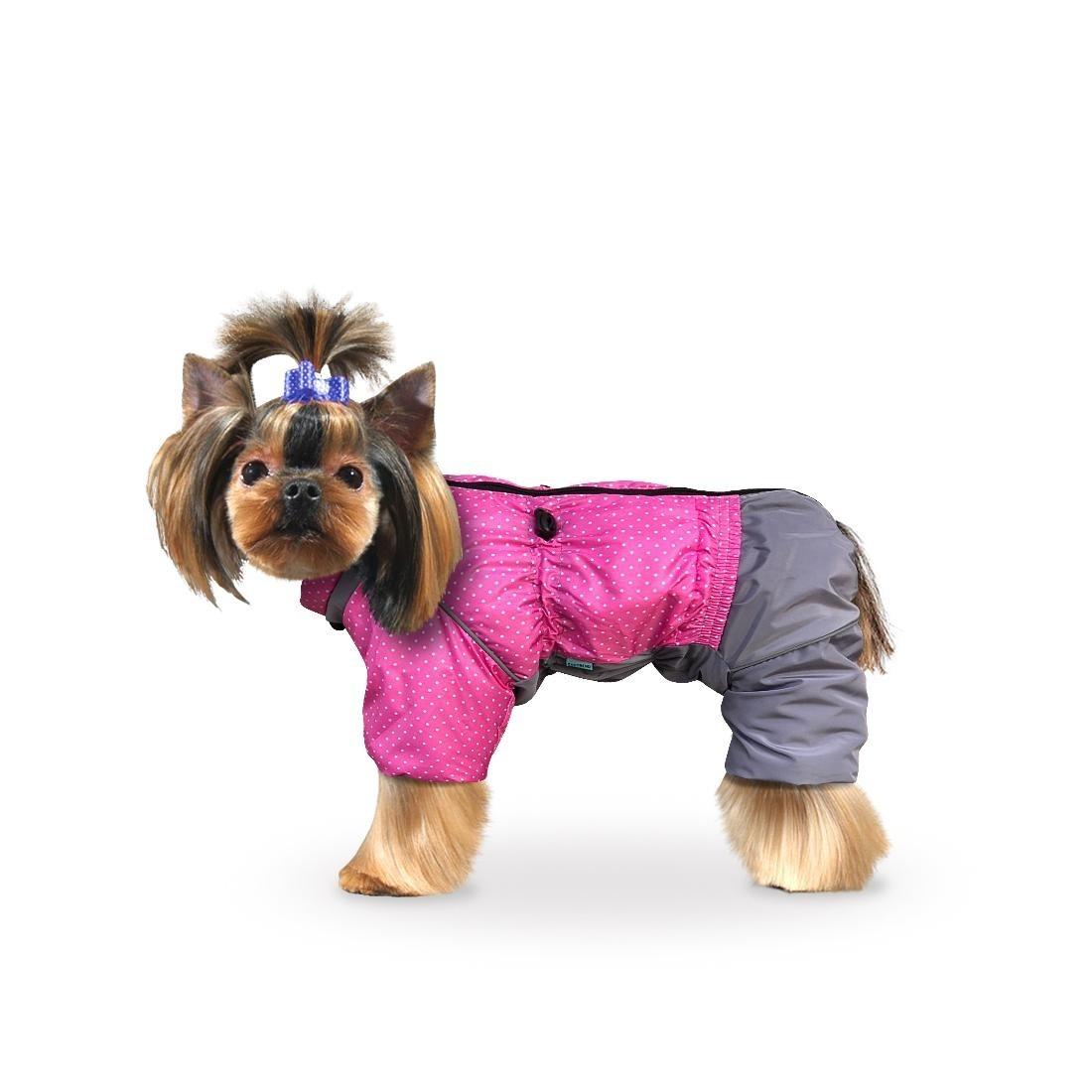 """Комбинезон """"Горошек"""" розовый-серый для собак купить"""