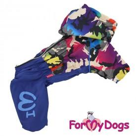 Дождевик синий камуфляж купить для собак