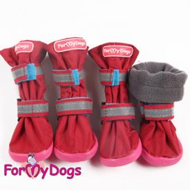 Сапоги для средних и крупных собак на флисе красный