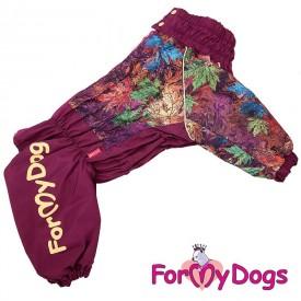 """Комбинезон для собак ForMyDogs """"Листья"""" бордовый на флисе"""