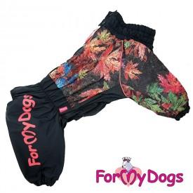 """Комбинезон для собак ForMyDogs """"Листья"""" черный на флисе"""