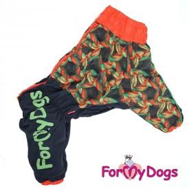 """Комбинезон для собак ForMyDogs """"Перья"""" черный-оранжевый"""