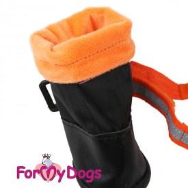 Сапоги для средних и крупных собак черный-оранжевый