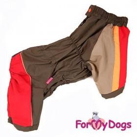 Дождевик для собак ForMyDogs красный/хаки