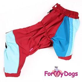 Дождевик для собак ForMyDogs бордо/синий