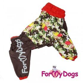 """Дождевик для собак ForMyDogs """"Цветы"""" хаки/красный"""