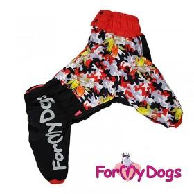 """Дождевик для собак ForMyDogs """"Цветы"""" черный/красный"""