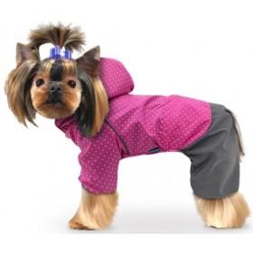 """Дождевик для собак """"Горошек"""" розовый"""