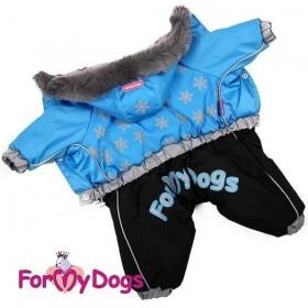 """Комбинезон для собак ForMyDogs """"Снежинки Вlue"""""""