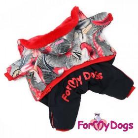 """Комбинезон для собак ForMyDogs """"Перышко"""" черно-красный"""