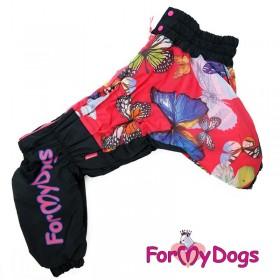 """Комбинезон для собак ForMyDogs """"Бабочки"""" черный-красный"""